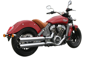 Rush Racing 3.5 inch War Horse Tip Compatible Mufflers for '15-Up Indian Scout (Choose Chrome or Black and Tips)