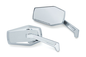 Kuryakyn Hex Mirrors for Harley Davidson Models (Choose Chrome or Black Finish)
