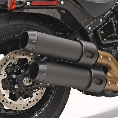 Bassani 4 inch Performance Slip On Mufflers for '18-Up Harley Davidson Fatbob - Black
