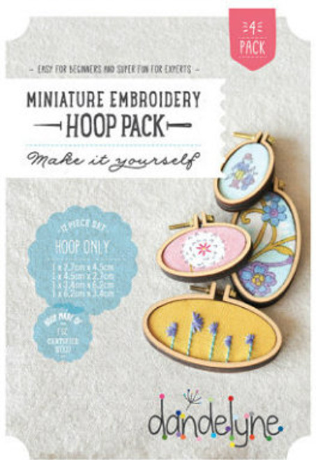 Dandelyne Assorted Miniature Embroidery Hoops   12 piece set, Assorted Horizontal (x2) and Vertical (x2) Embroidery Hoops.  Embroider, cross stitch or applique, whatever you choose to do, frame it with this tiny hoop.  Contains:      1 x (27mm x 45mm) and 1 x (34mm x 62mm) and 1 x (45mm x 27mm) and 1 x (62mm x 34mm) miniature embroidery hoops     8 Bolts and 4 screws     4x Backing Pieces with 4x Centre Plates.   Instructions enclosed, all you need is a wild imagination!  Easy for Beginners and Super Fun for Experts!   Price: $43.70 each