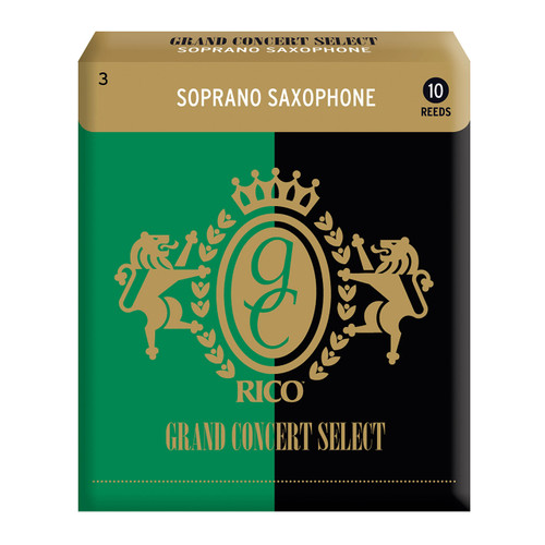 Rico Grand Concert Select Soprano Sax Reeds, Strength 3.0, 10-pack