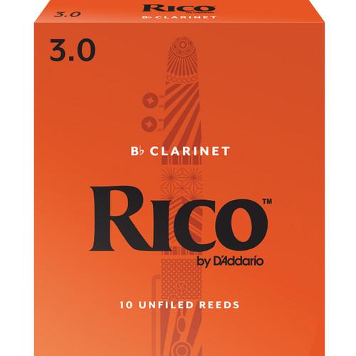 Rico Bb Clarinet Reeds, Strength 3.0, 10-pack