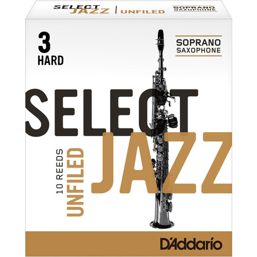 Rico Select Jazz Soprano Sax Reeds, Unfiled, Strength 3 Strength Hard, 10-pack