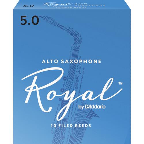 Rico Royal Alto Sax Reeds, Strength 5.0, 10-pack