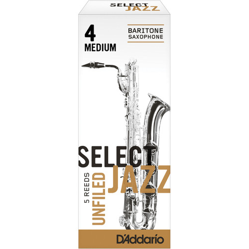 Rico Select Jazz Baritone Sax Reeds, Unfiled, Strength 4 Strength Medium, 5-pack