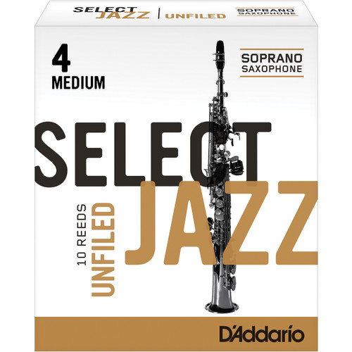Rico Select Jazz Soprano Sax Reeds, Unfiled, Strength 4 Strength Medium, 10-pack