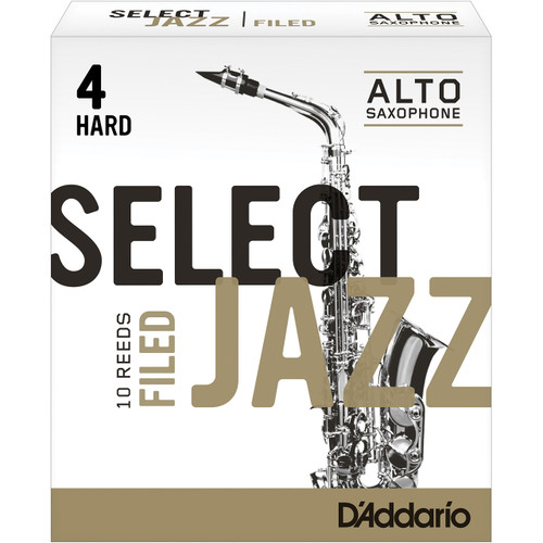 Rico Select Jazz Alto Sax Reeds, Filed, Strength 4 Strength Hard, 10-pack