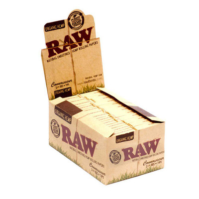 Raw Connoisseur 1 1/4 Organic Hemp Rolling Papers with Tips