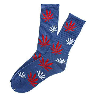 Leaf Socks Dark Blue Crew Length with Red & White Leaves