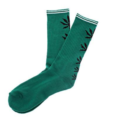 Leaf Socks Crew Length Green W/ Black Leaf