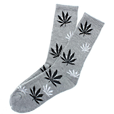 Leaf Socks Crew Length Gray with Black and White Leaves