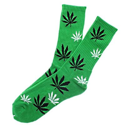 Green Crew Socks with Black & White Leaf