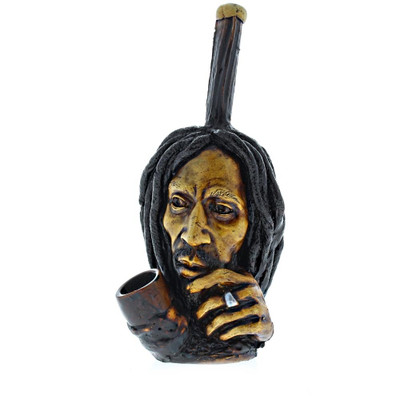 Sculpted Brazilian Thinking Bob Marley Wood and Clay Pipe
