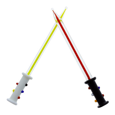 """Light, or Dark? These glass dab tools are almost 5"""" long and feature a colored glass surrounded by clear glass for the ultimate intergalactic effect."""