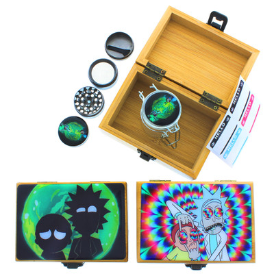 Rick & Morty Stash Box with Matching Airtight Jar & Grinder, Assorted Designs