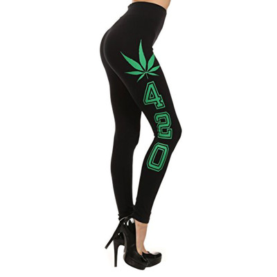 Leaf & 420 Leggings from the print side to show how far down the leg it travels. Leggings are one size fits most and feature a 4-way stretch to conform just right.