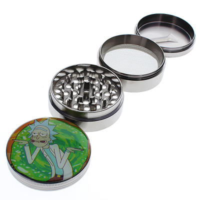 Four piece Rick and Morty artwork grinders with non-stick interior