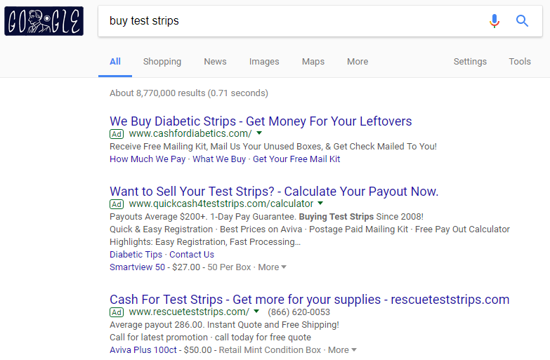Google Buy Leftover Test Strips