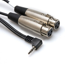 Hosa Stereo Mini 3.5mm Right-Angled Male to Dual 3-Pin XLR Female Y-Cable, 1ft.