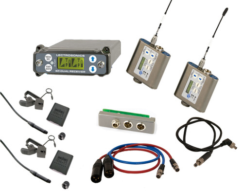 Lectrosonics SRC (A1) Kit W/ 2x SMQV Transmitters (BLK470), 2x Sanken COS-11d Lavaliers, SREXT, Output Cables and BDS Cable