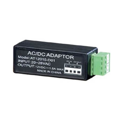 AC to DC Power Converter Cable, 24VAC -> 12VDC, 500ma