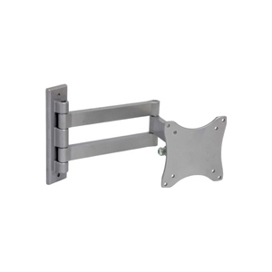 LCD TV Wall Mount Silver VESA 75/100 compliant 33 lbs Capacity 45° Tilt, 180° Lateral Rotation