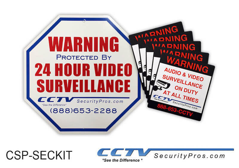 Surveillance Sign and Sticker Kit