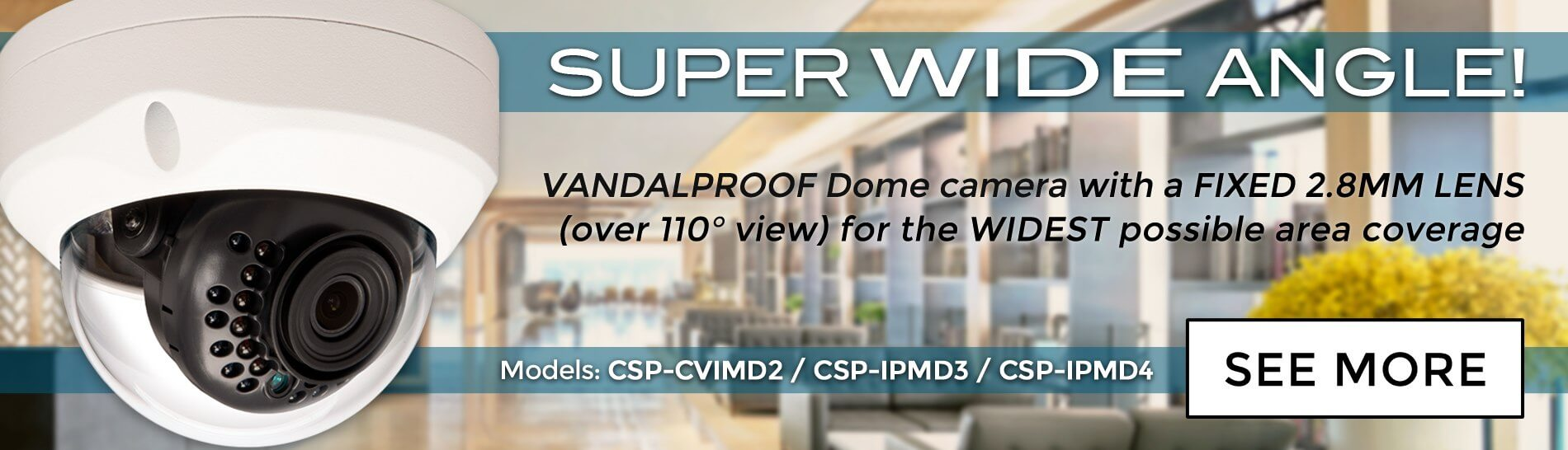 Super Wide Angle Vandalproof Dome Camera
