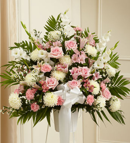 Heartfelt Sympathies Pink & White Standing Basket Simi Valley Flower Delivery