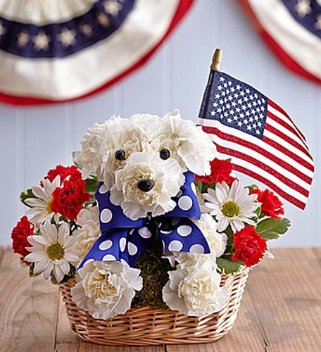 Yankee Doodle Doggie™ EXCLUSIVE Our patriotic pooch has a way of unleashing all-American smiles. Part of our truly original a-DOG-able® collection, our prideful pup is handcrafted from fresh red and white blooms, accented with blue and white ribbon and finished with a mini American flag. It's a dog-gone great surprise for a patriotic holiday, or any celebration!