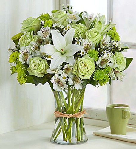Serene Green™ Bring some calm to someone special in your life. Inspired by the beauty of nature, our subtle, charming arrangement is hand-designed with the freshest blooms in delicate shades of green and white, arranged in a classic gathering vase tied with raffia. Just one look will have them smiling and will reflect your thoughtfulness!