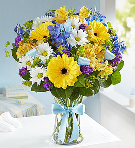 Sweet Baby Boy™ Arrangement Celebrate a new baby boy with a precious hand-designed arrangement. Our happy bouquet of fresh blue, yellow and white blooms in a glass vase tied with blue ribbon, is a beautiful and thoughtful way to congratulate the proud parents on their little bundle of joy.
