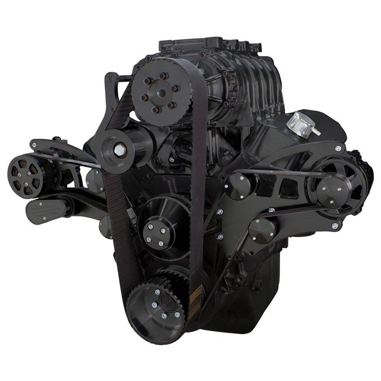 Black Serpentine Conversion Kit For Big Block Chevy 396 427 454 Cs130 Alternator Wiring To Wire A With The System Supercharger Ac