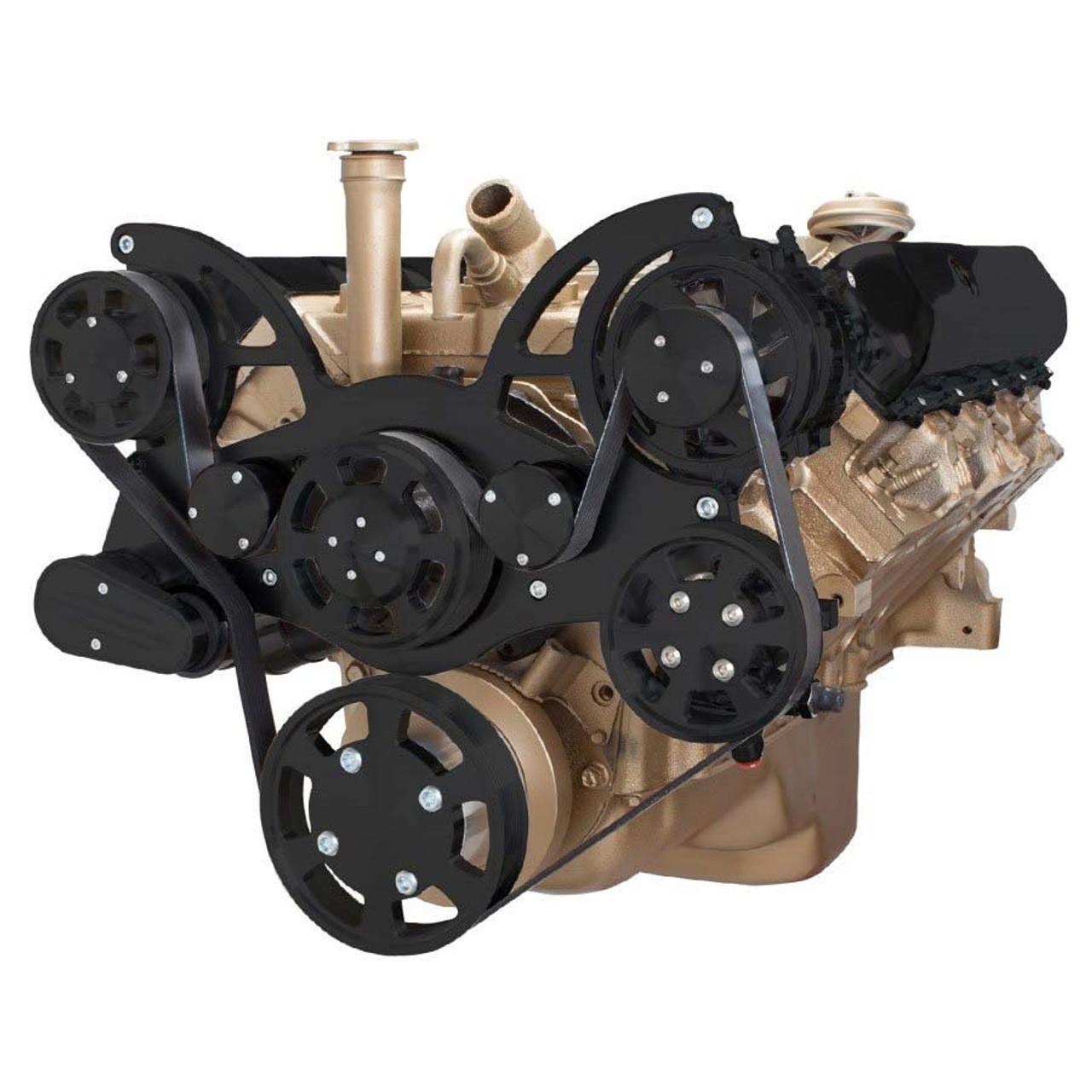 Stealth Black Serpentine Conversion Kit For Oldsmobile 350 455. Stealth Black Serpentine System For Oldsmobile 350455 Power Steering Alternator. Wiring. 455 Olds Engine Belt Diagram At Scoala.co