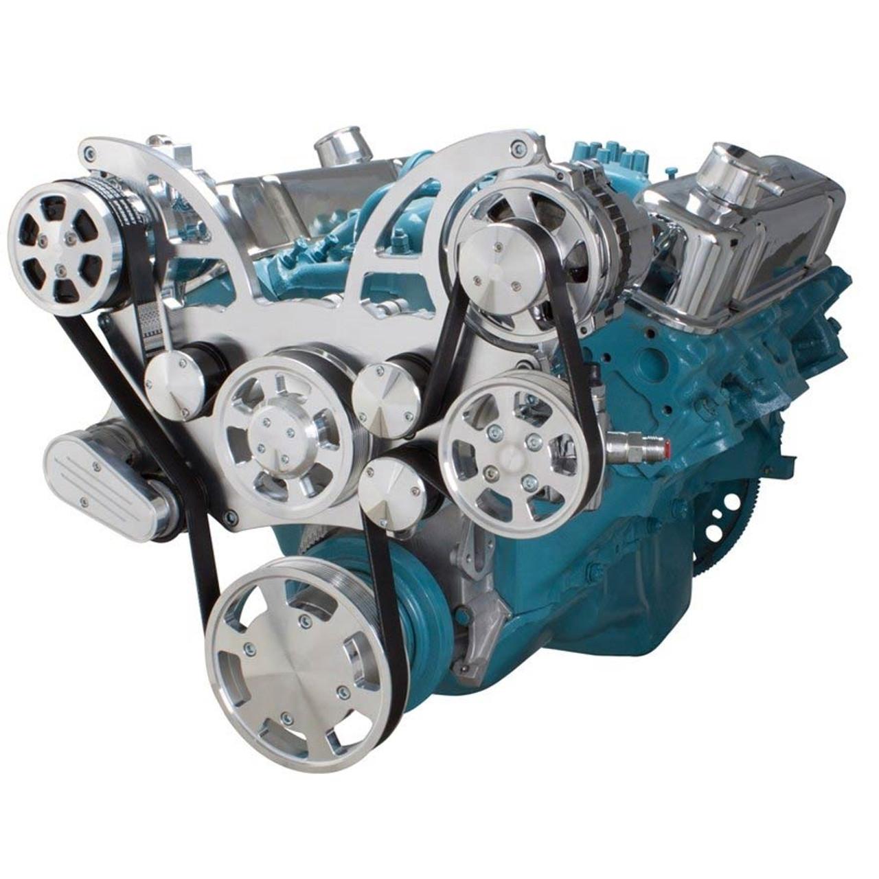 Serpentine Conversion Kit For Pontiac 350 400 428 455 V8 Engines Steering Bolt Power Pump System Ac