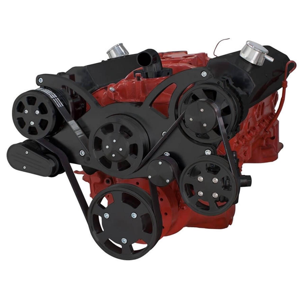 black serpentine conversion kit for small block chevy 283 350 400 rh cvfracing com