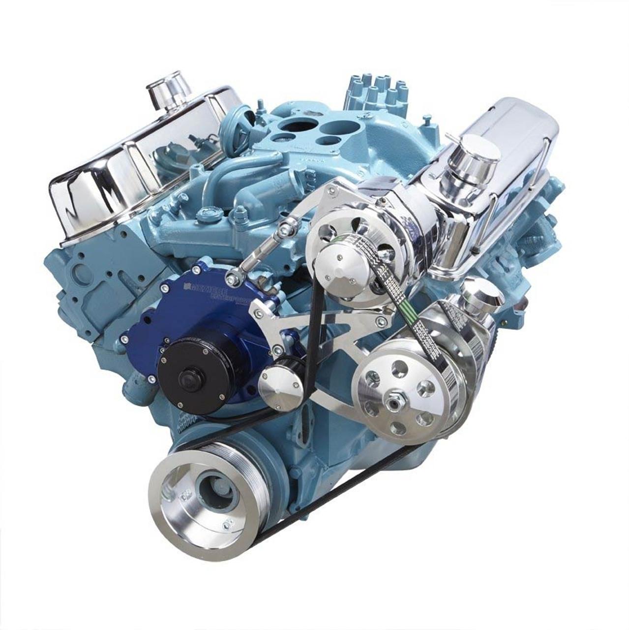 pontiac serpentine conversion kit for electric water pump with power rh cvfracing com Pontiac Vacuum Diagram Pontiac V6