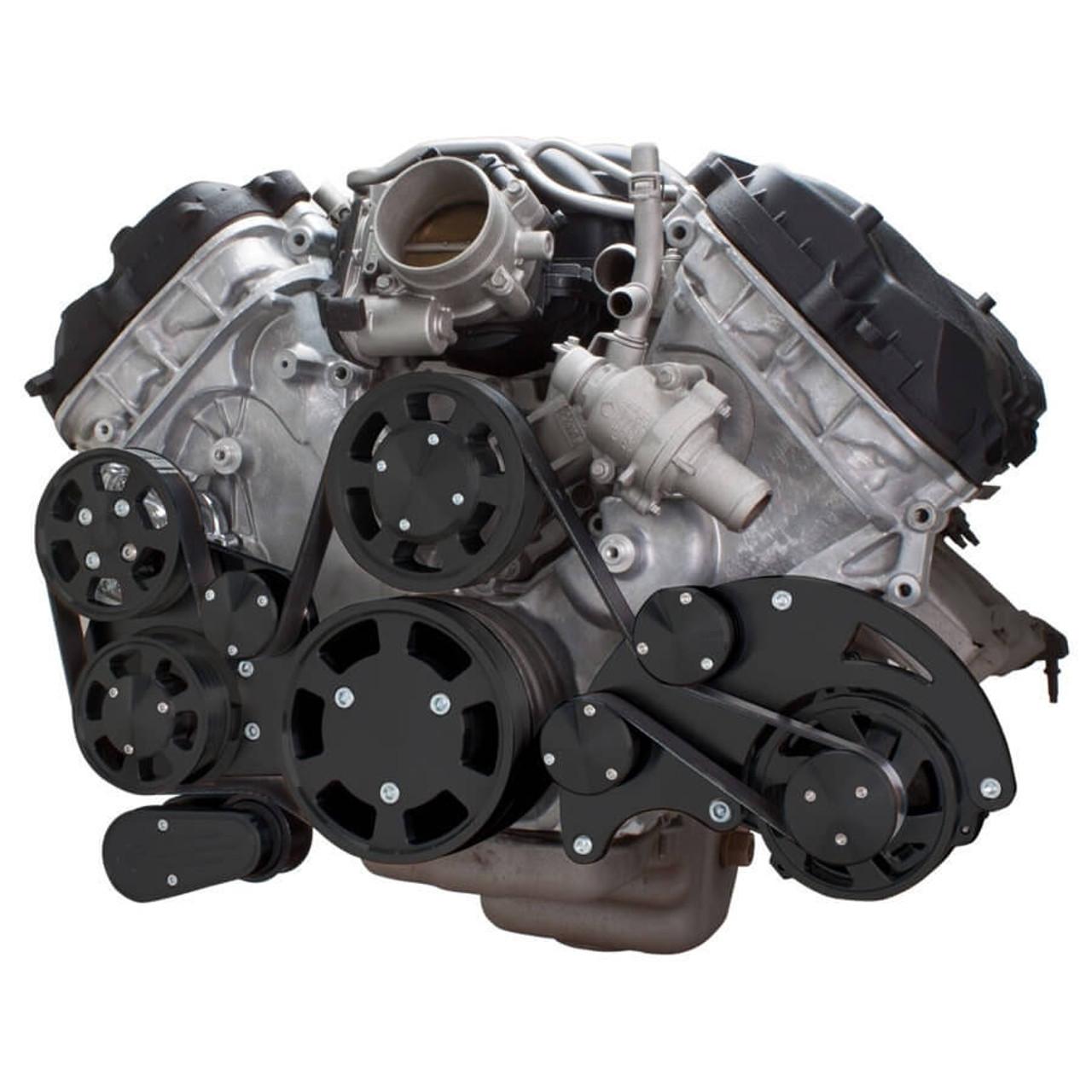 stealth black serpentine conversion kit for ford coyote 5 0 with ac rh cvfracing com Ford Alternator Circuit Ford Explorer Alternator Diagram