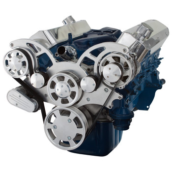 Polished Wraptor Serpentine System for Ford Small Block - Alternator Only Configuration