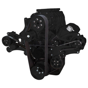 Stealth Black Serpentine System for 396, 427 & 454 Supercharger - Power Steering & Alternator with Root Style Blower