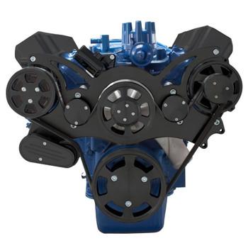 Stealth Black Serpentine System for Ford FE Engines - AC & Alternator