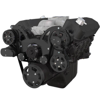 Black Serpentine System for Big Block Chevy - AC, Power Steering & Alternator with Electric Water Pump - All Inclusive