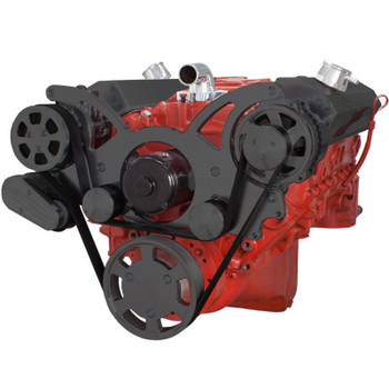 Black Serpentine System for SBC 283-350-400 - AC & Alternator with Electric Water Pump - All Inclusive