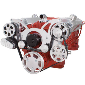 Serpentine System for SBC 283-350-400 - AC, Power Steering & Alternator with Electric Water Pump