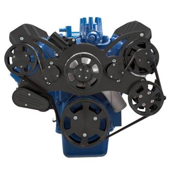 Stealth Black Serpentine System for Ford FE Engines - Power Steering & Alternator