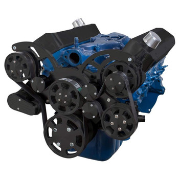 Stealth Black Wraptor Serpentine System for Small Block Ford - Power Steering & Alternator Configuration