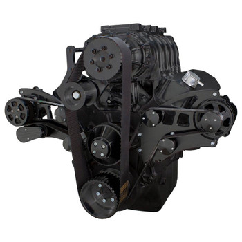 Black Serpentine System for 396, 427 & 454 Supercharger - AC & Alternator - All Inclusive