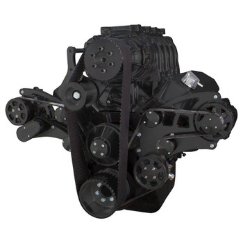 Black Serpentine System for Big Block Chevy Supercharger - AC, Power Steering & Alternator - All Inclusive