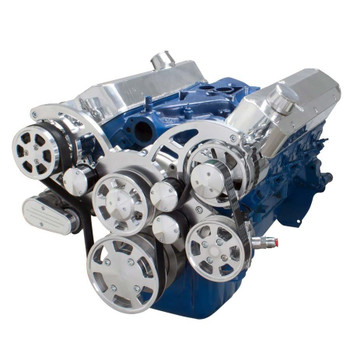 Polished Ford Small Block Serpentine Wraptor Kit AC, Power Steering and Alternator Configuration