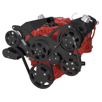 Black Serpentine System for SBC 283-350-400 - Power Steering & Alternator - All Inclusive